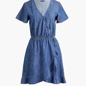 J.Crew chambray ruffle faux wrap dress size XS NWT